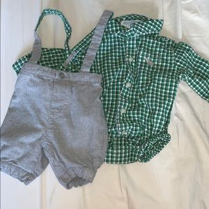 Baby boys Janie and Jack overalls and dress shirt